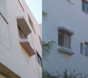 עבודת צבע - צביעת בית חיצוני לפני ואחרי